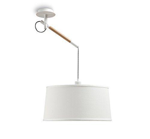 Mantra Igan-Lampada bassa a sospensione 1 luce collezione Nordica, in legno naturale e protezione schermo, colore: bianco.