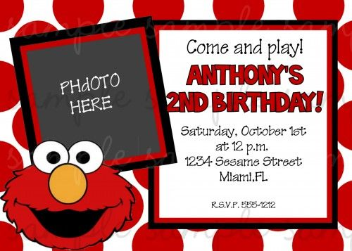 Elmo Birthday Invitation Girl