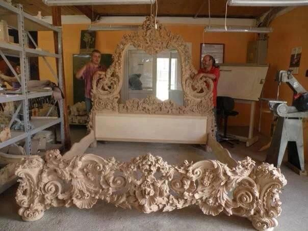 Ornate Wood Carved Bed