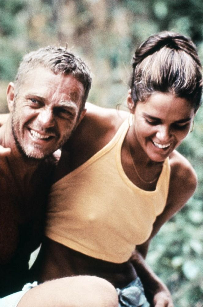 Ali MacGraw and Steve McQueen during a break in filming Papillon, 1973