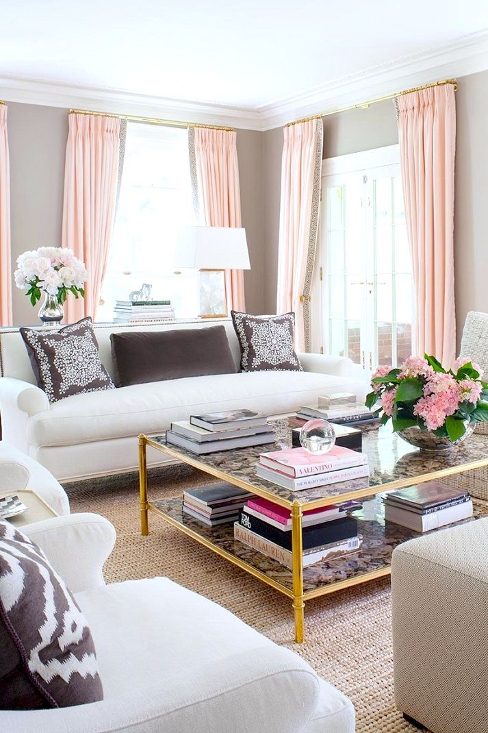 Coffee Table Feminine Style Fresh Flowers Pink Gold Color Palette Room