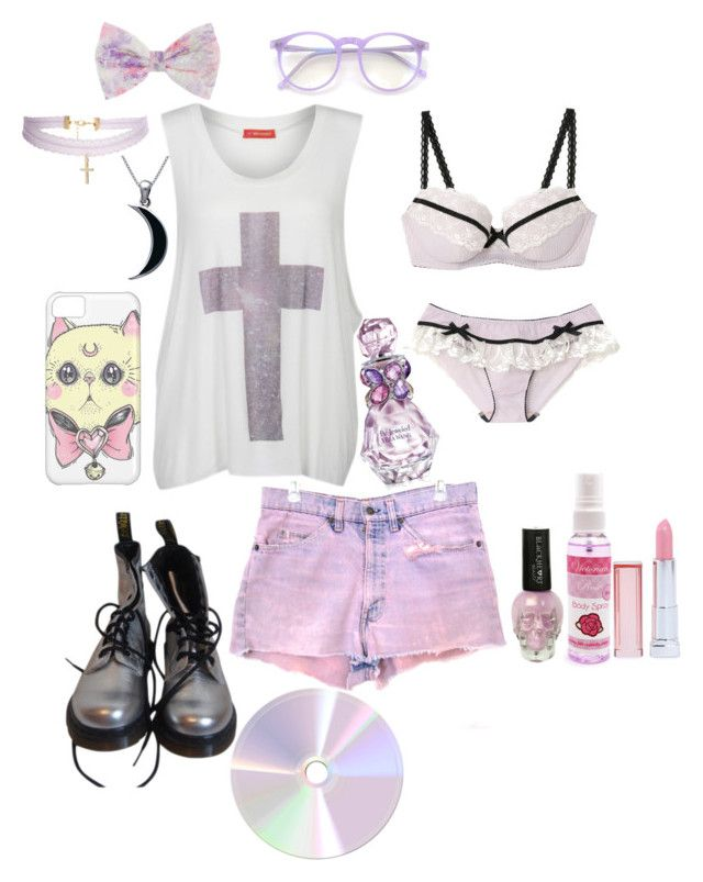 """""""pastel goth"""" by red-foxess-and-wolf ❤ liked on Polyvore featuring Levi's, Influence, Carolina Glamour Collection, Dr. Martens, Wildfox, Maybelline, ASOS and Vera Wang"""