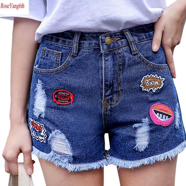 2017 Nueva Sexy Summer Short Shorts Agujero Suelta Pantalones Cortos de Mezclilla de Las Mujeres Cintura alta Pantalones Vaqueros Cortos del Todo Fósforo Corto Feminino Plus Size Y90