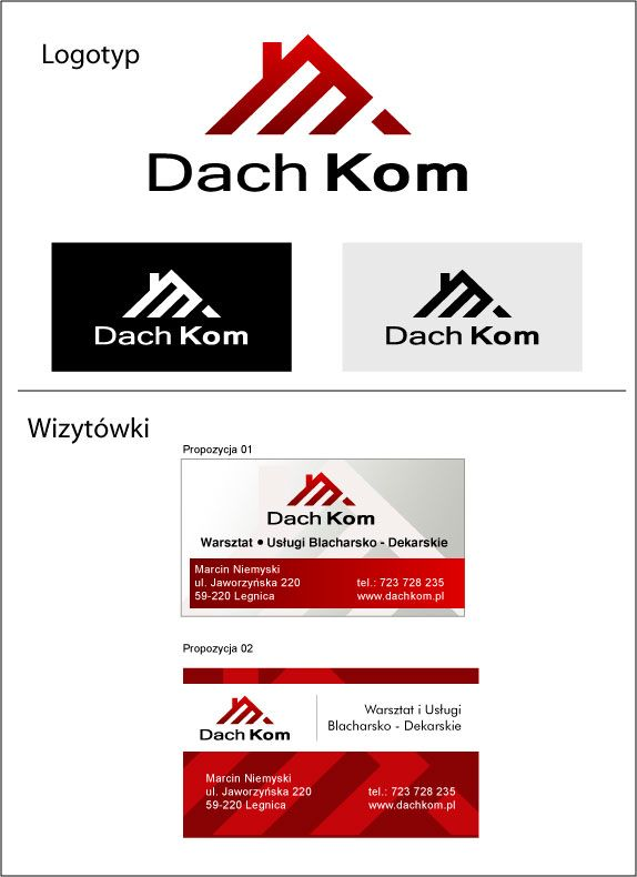 Branding DACH-KOM. Graphic design logos and business cards.