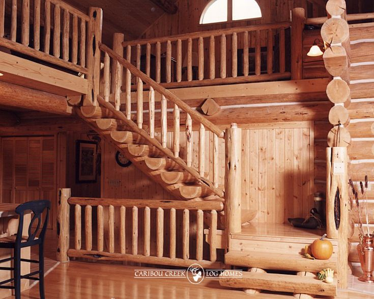 Handcrafted Custom Log Stairs  | By Caribou Creek Log Homes | by CaribouCreekLogHomes.com