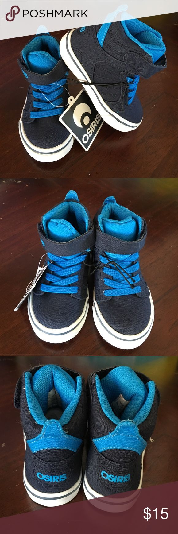 Osiris Toddler Boy High Tops Navy blue high tops with royal blue laces and interior lining. New with tags, never worn. Osiris Shoes Sneakers