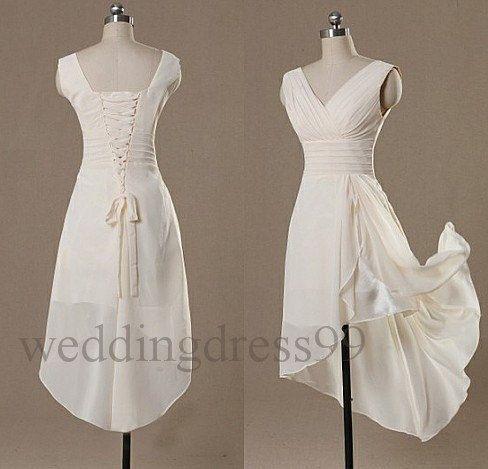 Custom Ivory Hi Low Bridesmaid Dresses 2014 by weddingdress99, $56.00