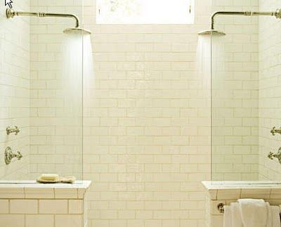 2 headed shower with no door, i love how simple but timeless this looks ! I'M GOING TO BUILD MY BATHROOM LIKE THIS !