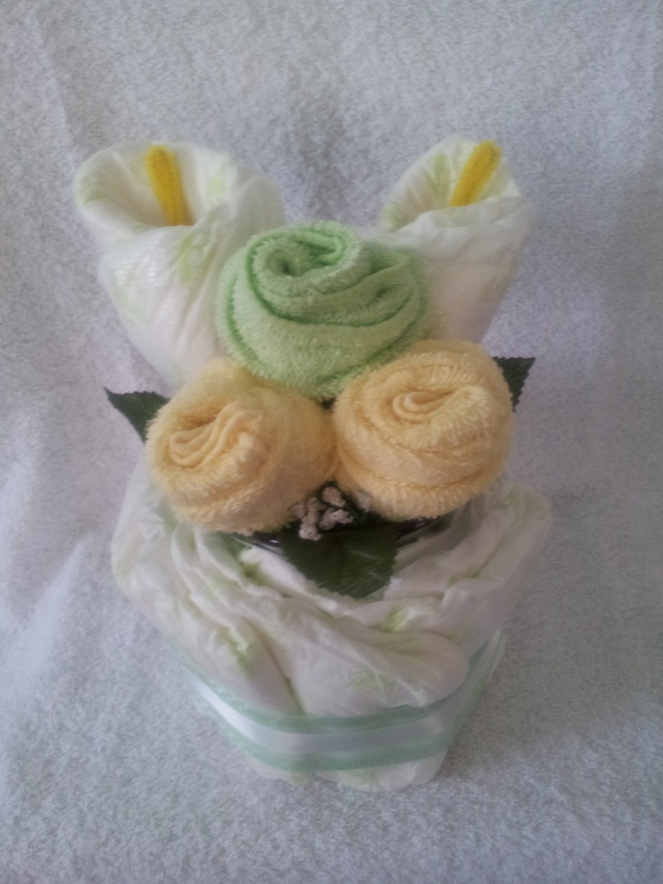 Flower Nappy Cake by KittzGiftCreations on Etsy, $15.00