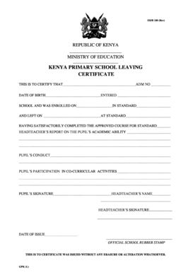 primary school leaving certificate