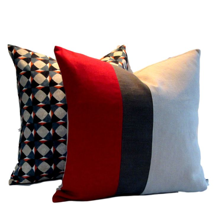 Instantly update your decor with our contemporary linen Red Charcoal Natural Colour Block Pillow Cover