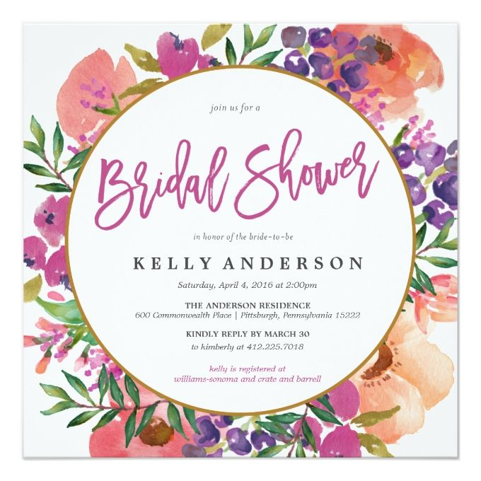 modern watercolor floral bridal shower invitation - Wedding Shower Invites