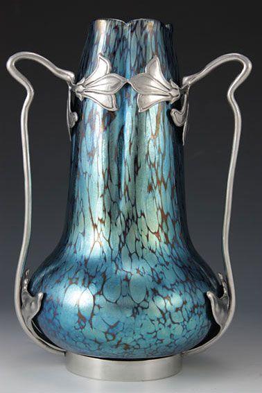 Loetz Art Nouveau Iridescent Glass Vase with Van Hauten Pewter Mount