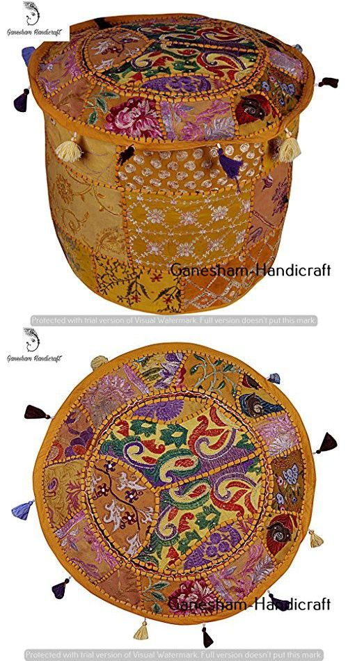 Indian Vintage Ottoman Pouf Cover Hippie Living Room Boho Decor Seating Pouf Decorative Handmade Home Chair Cover Designer Floor Cushion, Foot Stool Cover (Cover Only)