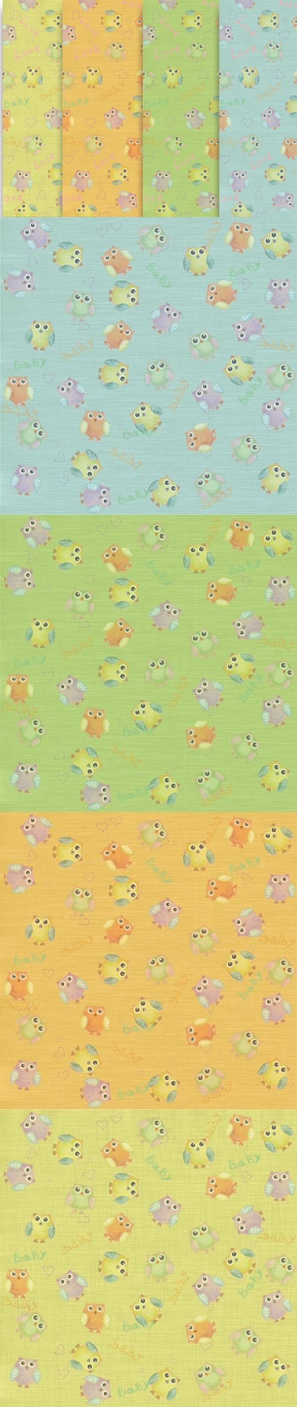 Seamless Background with owls psd. Patterns. $7.00