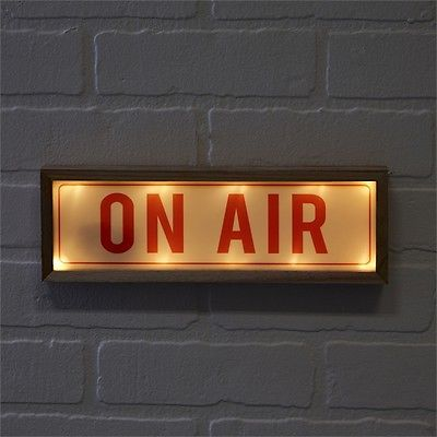 ON AIR - Radio Broadcast Lighted LED Wall Sign - Wood Frame 11-3/4-in