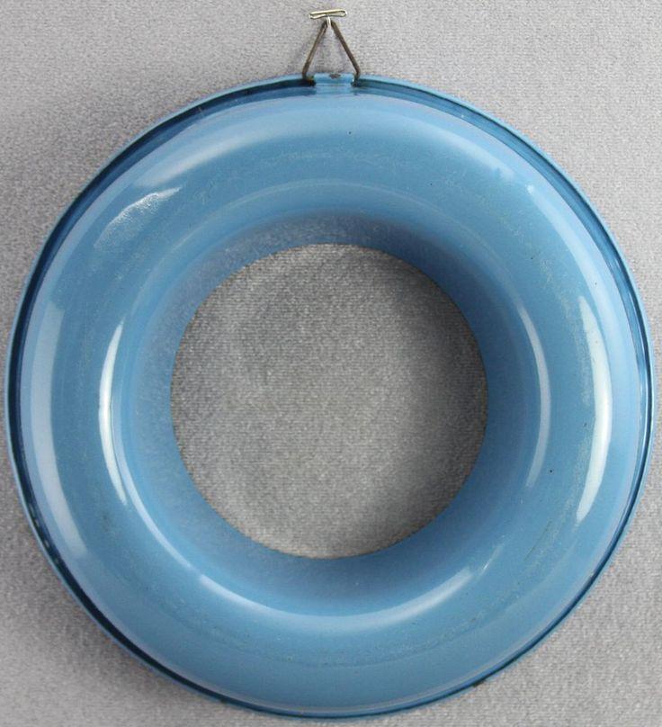 "ESTATE - ANTIQUE GRANITEWARE ENAMELWARE ROUND COOKING RING MOLD BLUE WHITE 9.5"""