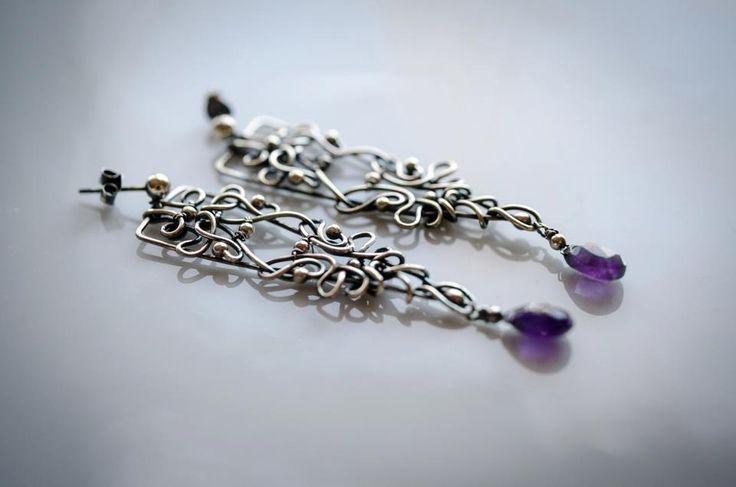 ametyst silver earring wire wrapped silver earring