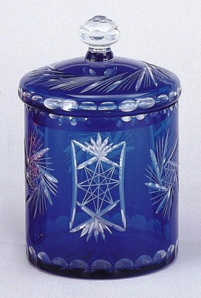 Depression Style Cobalt Blue Cut To Clear Glass; Measures: 10 in. High; 6.5 in. Wide; Lid Has Clear Glass Knob