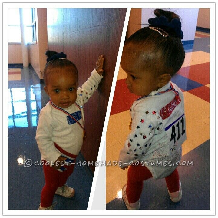 Last-Minute DIY Toddler Costume: USA Olympic Gold Medalist Gymnast Gabby Douglas… Enter Coolest Halloween Costume Contest at http://ideas.coolest-homemade-costumes.com/submit/