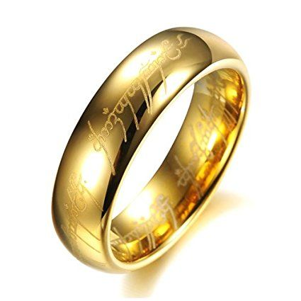The Lord of Rings Fashion Tungsten Carbide Ring   Jewelry Gold Black Silver   bookworm holiday gift ideas   gift ideas for readers   affiliate link