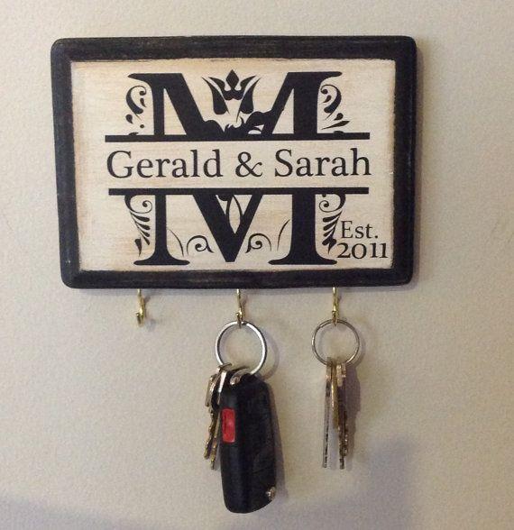 Personalized Wedding Gift- Monogram Key Holder. Awesome for Engagement Gift, Bridal shower, Couple's Gift, Housewarming. Wedding gift idea on Etsy, $22.00