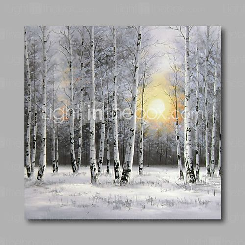 Ready to Hang Stretched Hand-Painted Oil Painting Canvas Wall Art Silver Birch Forest Trees Snow Modern One Panel 2016 - $76.49
