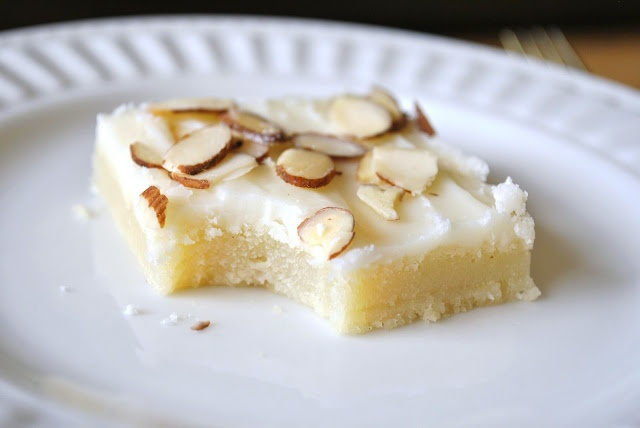 Almond Sheet Cake with Butter Frosting...or delicate bar cookies: Frostings, Sweet, Almonds, Butter Frosting, Almond Sheet, Sheet Cakes, Sheetcake, Kitchen, Dessert