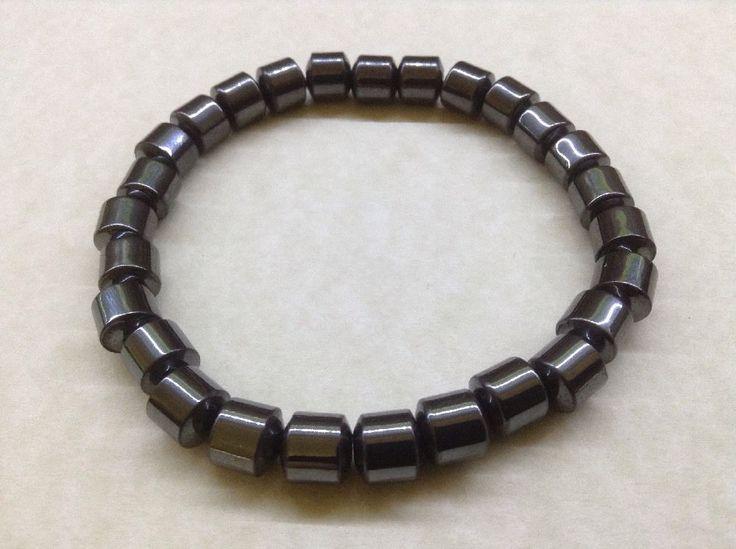 MENS HEMATITE Bracelet - 8mm Tube Bead Gemstone Handmade - Chakra Healing   eBay