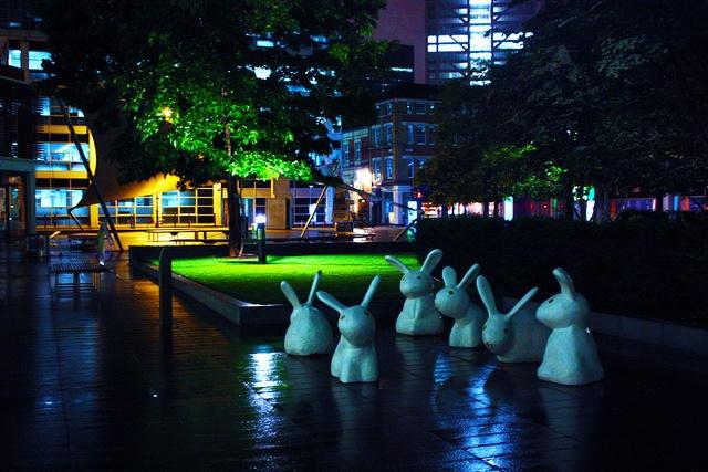 Rabbit sculptures at Spitalfields, London via http://townfish.com. Follow us: http://twitter.com/townfish_london