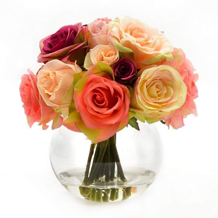 Pin By Goldenj On Glass In 2020 Rose Floral Arrangements Rose Bouquet Faux Flowers