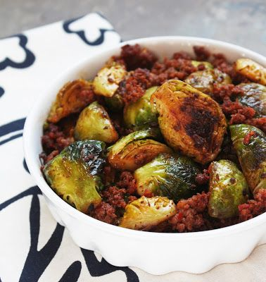 Caramelized Brussels Sprouts & Chorizo (Paleo) - I Breathe... I'm Hungry...