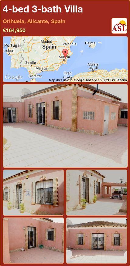 4-bed 3-bath Villa in Orihuela, Alicante, Spain ►€164,950 #PropertyForSaleInSpain