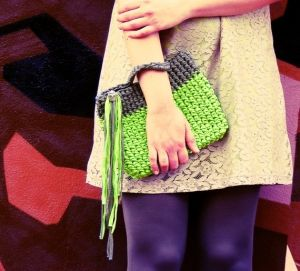 Neon Green Crochet Clutch Purse Fringes Geometric Pochette Bag by marinta