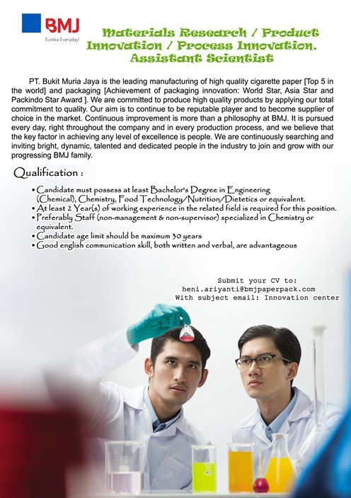OPEN! 3 #vacancy from Bukit Muria Jaya as Analytical Lab Chemist, Materials Research, Associate Scientist and Associate Scientist >> http://bit.ly/2CJbIqT   DEADLINE: 8 February 2018 #itbcc #karirITB #ITBcareer