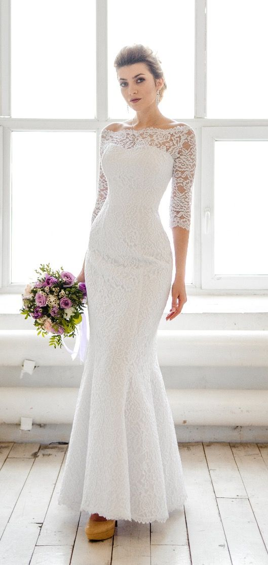 Итальянские кружевные свадебные платья рыбка