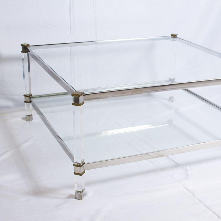 Table Basse Vintage à Deux Etages en Lucite, en Laiton et en Aluminium 4