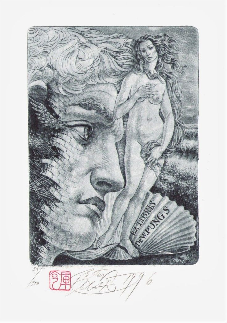 Birth od Venus. Exlibris Ex libris erotic etching by PETER KOCAK