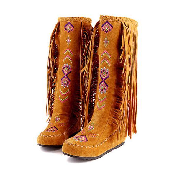 Light Brown Nubuck Tassel Embroidery Flat Boots ($30) ❤ liked on Polyvore