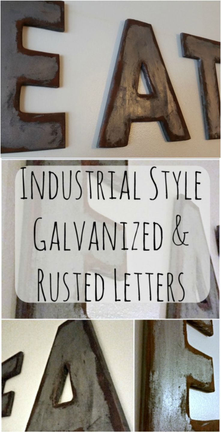 Industrial Style Galvanized and Rusted Wood Letters from My Own Home Blog - love this DIY rustic wall decor idea!