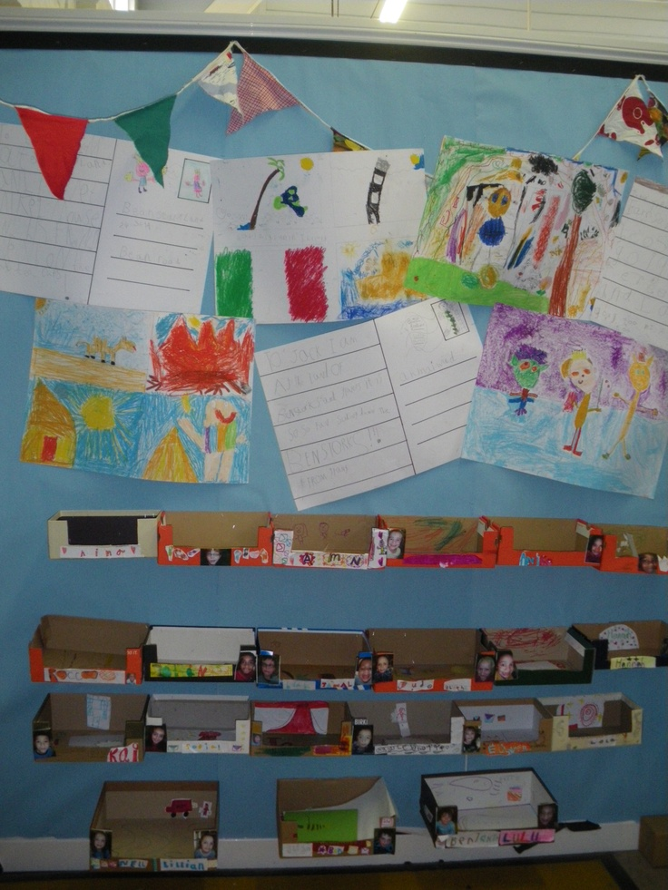 Post Office role play area.  Children created their own sorting boxes, using shoe boxes, and decorated them with a photo of themselves and their names, to make sorting easy for the postman.  In free time children used the class writing box to write letters to classmates, which they posted in the post box.  When in the role play area, they sorted these into the sorting boxes.  Children collected their post at the end of the week :-)