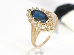 Vestimentatie, Bijuterii, accesorii, inel superb diamante cu safir 0,32krt, imaginea 1 din 2