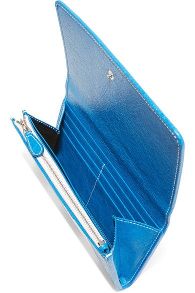 Balenciaga - Striped Textured-leather Wallet - Blue - one size