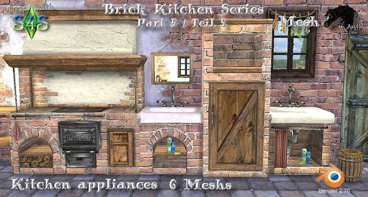Brick Kitchen Series / Kitchen appliances Part 5 / Teil 5 - Asylarabers Sims 4 Meshes - PatchworkSims2