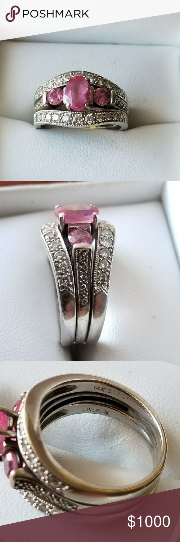 Women's wedding ring set Selling a very beautiful wedding ring set, set includes 3 rings that are soldered together. 14k white gold, pink sapphire center ring with 1/4 ct diamonds in each wedding band. Rings are a size 6 and have always been cleaned and inspected. Well over $2000 into this set. Jewelry Rings #jewelrydiamond #diamondsclean #weddingring