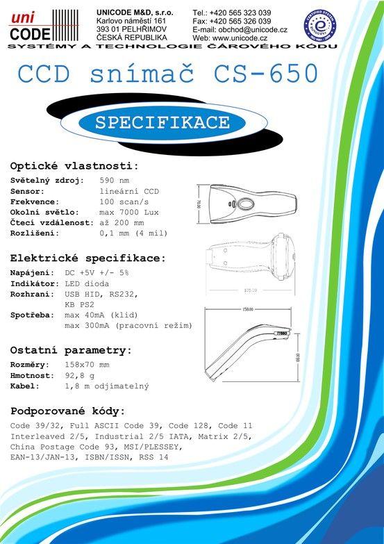 CCD snímač CS 650 strana 2 CCD Scanner CS 650 page Nr. 2