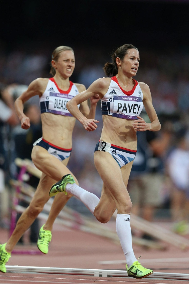 Day fourteen: Joanne Pavey and Julia Bleasdale of Team GB compete during the Women's 5000m Final.