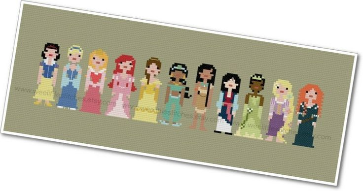 Pixel People - Storybook Princesses - PDF Cross-stitch Pattern - INSTANT DOWNLOAD. $10.00, via Etsy.