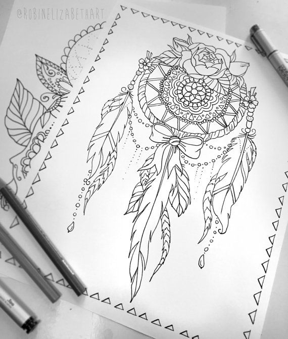 Lace Dream Catcher Coloring Page - Instant Download Print Your Own Coloring Pages Adult Coloring Book - Boho