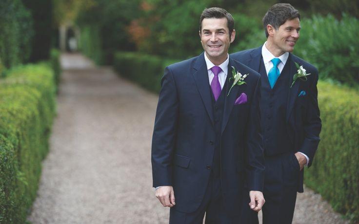 Our navy mohair lounge suit, Milford. #peterposh #wedding #groom #weddingsuits #bluesuit #bowtie #groomsmen